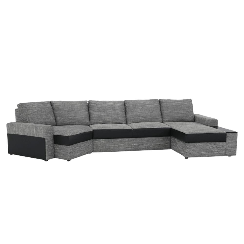 Sedacia súprava v tvare U, čierna/sivohnedá, pravá, ROY - Tempo nábytek